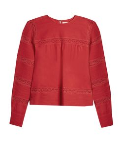 Isabel Marant Étoile | Lace-Trimmed Long-Sleeved Cotton Top