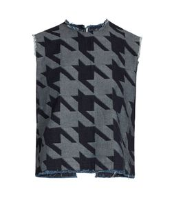 Marques Almeida | Open-Back Hounds-Tooth Cotton Top