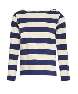 Mih Jeans | Button Sleeve Breton Cotton Shirt
