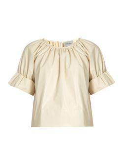Rachel Comey | Vidal Short Blouson-Sleeved Faux-Leather Top