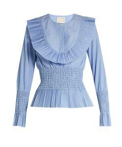 TRADEMARK   Pleated-Bib Smocked Cotton-Poplin Shirt