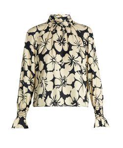 TRADEMARK   Hibiscus-Print Silk-Twill Blouse