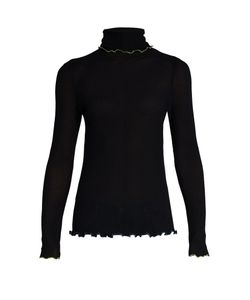 TRADEMARK | Contrast-Trim Roll-Neck Silk Sweater