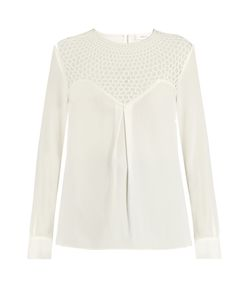 A.L.C. | Crochet-Panel Long-Sleeved Crepe Top