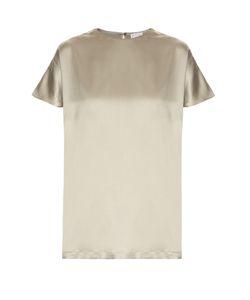 Brunello Cucinelli | Short-Sleeved Silk-Blend Satin Top