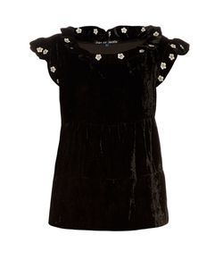 Jupe By Jackie | Mickey Ruffle-Trimmed Embroidered Silk-Velvet Top