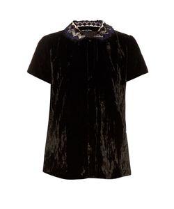 Jupe By Jackie | Folgar Embroidered-Collar Silk-Velvet Blouse
