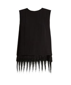 Adam Lippes | Sleeveless Fringe-Trimmed Satin-Crepe Top