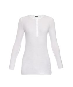 ATM | Henley Long-Sleeved Ribbed-Jersey Top