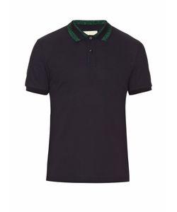 Gucci | Lamé Collar Cotton-Blend Polo Shirt