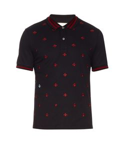 Gucci | Bee And Star-Embroidered Cotton Polo Shirt