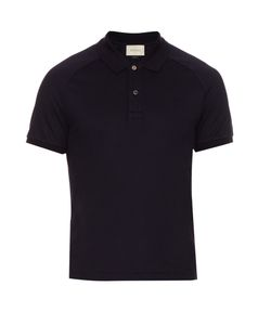 Gucci | Snake-Appliqué Cotton-Blend Polo Shirt