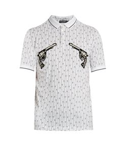 Dolce & Gabbana | Gun-Embroidered Appliqué Cotton Polo Shirt