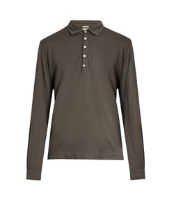 Massimo Alba | Long-Sleeved Cotton And Cashmere-Blend Polo Shirt