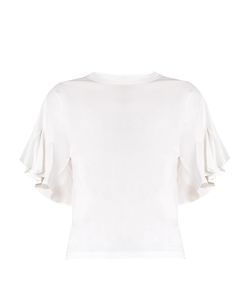Chloe | Silk-Panelled Ruffle-Sleeved Cotton-Jersey Top