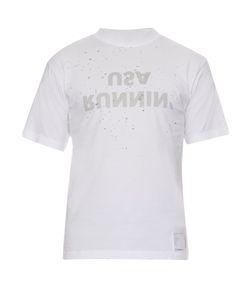 SATISFY   Slogan-Print Distressed-Jersey T-Shirt