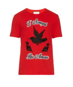 Gucci | Hummingbird-Appliqué Cotton-Jersey T-Shirt