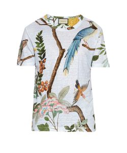 Gucci | Birds Flying-Print Linen Jersey T-Shirt
