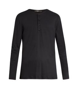 HELBERS | Long-Sleeved Brushed-Cotton Henley Top
