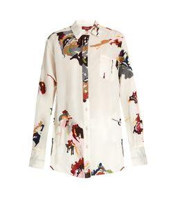 SIES MARJAN   Camouflage-Embroidered Silk-Gazar Shirt