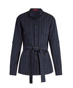 SIES MARJAN   Pinstriped Double-Layer Wool-Blend Shirt