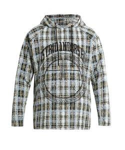 Astrid Andersen   Embroidered Checked-Tweed Hooded Sweatshirt