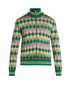 Gucci | Zip-Through Roll-Neck Wave-Jacquard Sweater