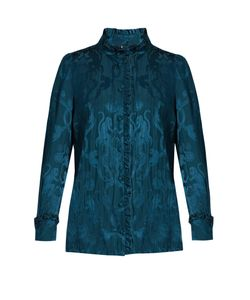 Roberto Cavalli | Monkey And Snake-Jacquard Ruffled Blouse