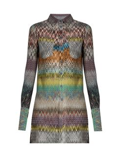 Missoni | Chevron-Knit Patch-Pocket Blouse