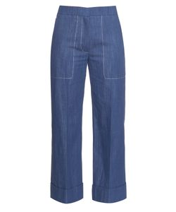 Sonia Rykiel | Chambray Straight-Leg Cropped Trousers