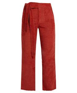 Masscob | Frayed-Hem Cropped Corduroy Trousers