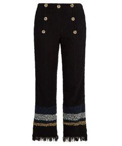 Sonia Rykiel | Frayed-Hem Cropped Tweed Trousers