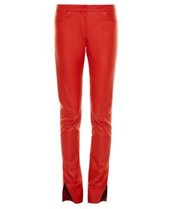 Loewe | Mid-Rise Slit-Hem Leather Trousers