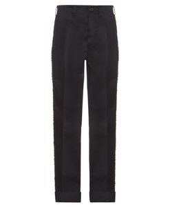 MAFALDA VON HESSEN | Embellished-Stripe Wide-Leg Cotton-Blend Trousers