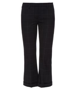 Brunello Cucinelli | Windowpane-Checked Flared Cropped Trousers