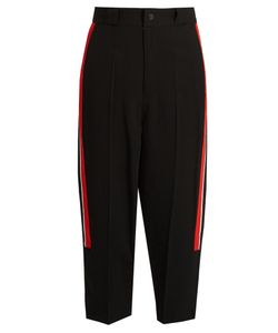Y'S BY YOHJI YAMAMOTO | Contrast-Stripe High-Rise Cropped Trousers