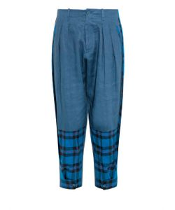 YOHJI YAMAMOTO REGULATION | Tartan-Panel Linen Trousers