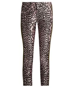Haider Ackermann | Madame Skinny-Leg Jacquard And Leather Trousers