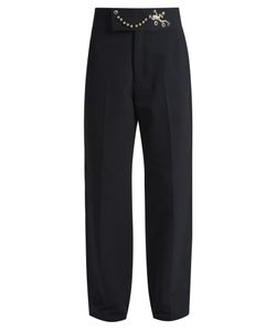 Toga | Frog-Embellished Straight-Leg Twill Trousers