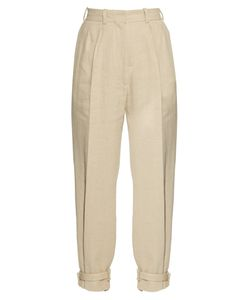 HILLIER BARTLEY | Ankle-Strap High-Rise Linen-Blend Trousers