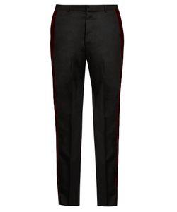 Alexander McQueen | Velvet-Trimmed Straight-Leg Wool Trousers