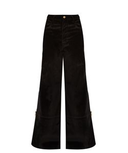 WALES BONNER | Isaac High-Waisted Flared Velvet Trousers
