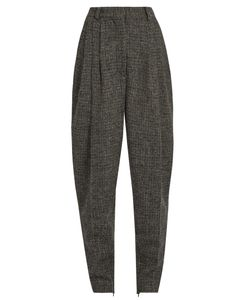 HILLIER BARTLEY | High-Rise Carrot-Leg Checked-Wool Trousers