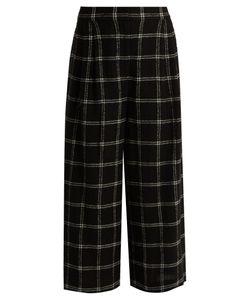 Tibi | Checked Wide-Leg Wool-Blend Culottes
