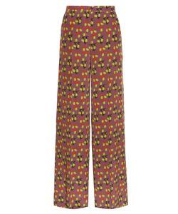 Etro | Leaf-Print Wide-Leg Silk-Crepe Trousers