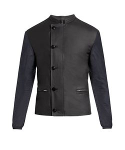HELBERS | Leather And Nylon Biker Jacket