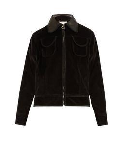 WALES BONNER | Slee Leather-Trim Cotton-Velvet Bomber Jacket