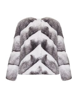 LILLY E VIOLETTA | Sarah Chevron Collarless Mink-Fur Jacket
