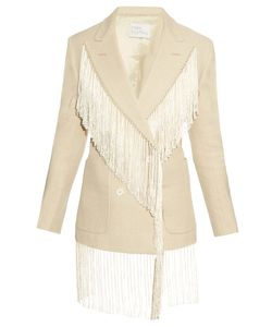 HILLIER BARTLEY | Fringed Double-Breasted Linen Blazer