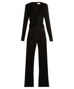 GALVAN | V-Neck Pleated Jumpsuit
